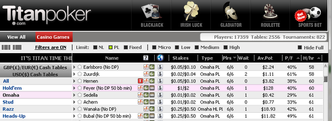 titan omaha cash games